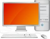 Ordinateur de bureau, illustration vectorielle poster