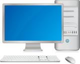Ordinateur de bureau avec clavier et souris sans fil poster