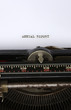 Close up of an antique typewriter with the words Annual report