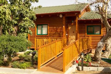wooden  house in village.
