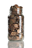 jar full of pennies and dollar bills