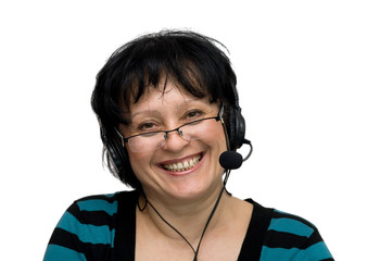 woman with headset and glasses isolated