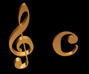Treble clef and sign for common time