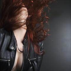 Woman flipping hair.