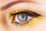 Beauty. Woman eye with yellow eyeshadow. poster