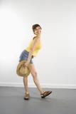 Portrait of pretty Caucasian woman in summer attire. poster