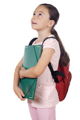Girl with backpack and folder over white background