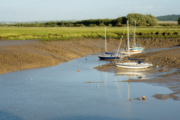Yachts Moored in a Tidal Inlet