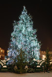 Giant outdoor christmas tree decorated with lights