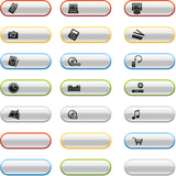 Glossy buttons with electronics icons poster