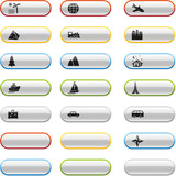 Glossy buttons with travel icons poster