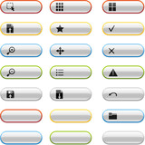 Glossy buttons with viewer icons poster