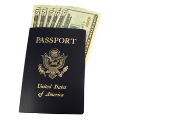 US passport and Twenty Dollar bills