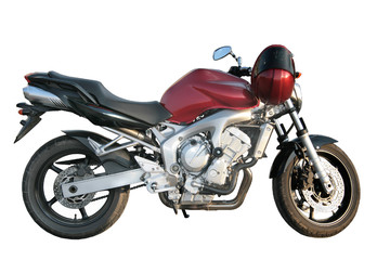 Beautiful powerful sports motorcycle on a white background.