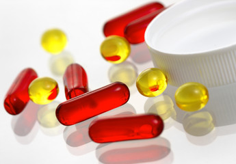 Close-up of  pills on a white background