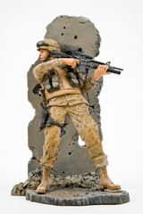 US Army Solider Figurine In Battle Action