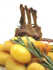 potatoes and rack of lamb