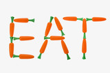 Eat spelled with carrots. poster