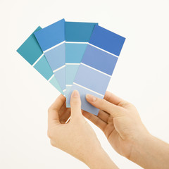 Caucasian female hands holding paint color swatches.