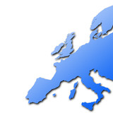Distorted outline map of Europe on white background. poster