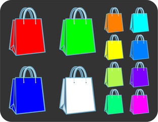 Collection of RGB spectrum shopping or gift bags in vector