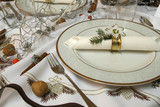 Christmas table with decorative porcelain poster