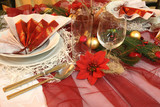 Christmas table with decorative porcelain, poster