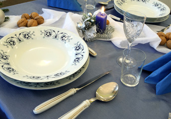 Christmas table with decorative porcelain,