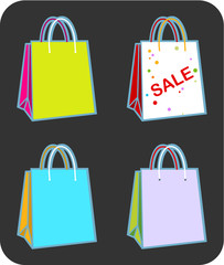Four vector illustration shopping bags with copy space