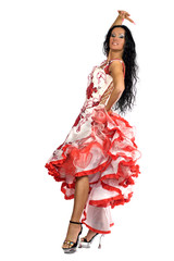 beautiful woman with long black hair wearing stage vivid dress