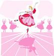 Ballet vector dancer in pink romantic tutu on stage