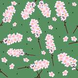 Vivid, colorful, repeating cherry flower background poster