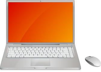 Ordinateur portable vectoriel, avec clavier très détaillé.