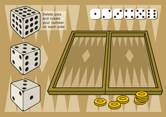 Backgammon create dice numbers deleting pips