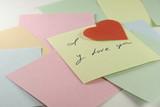 handwritten love message on a sticker poster