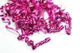 Festive fushia pink ribbon that has been curled. poster