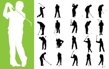 silhouettes des golfeurs en  vecteur format