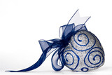 Sparkling decorative heart with blue bow poster