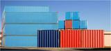 Assembly of cargo container in a harbour poster