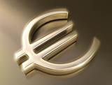 Golden sign euro. Concept of business and finances. poster