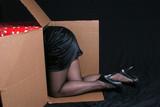 woman crawling into a box poster