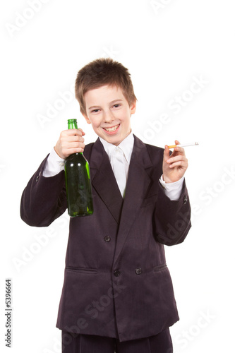 Schoolboy with alcohol and cigarette. Isolated.