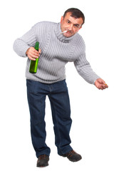 Drunk man with bottle of beer. Russian Social problem.