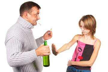 Drunk man gives an alcohol to schoolgirl. Isolated.