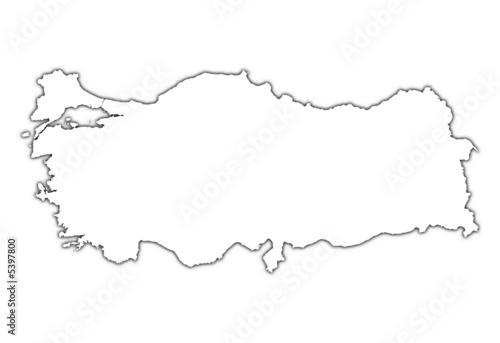 土耳其地图外形孤立形状插图摘要数字白色纹理背景