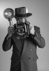 1940's style photojournalist in portrait