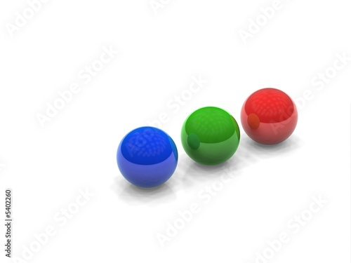 blue, green, red sphere