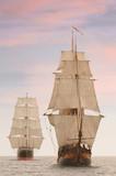 Tall wooden vintage sailing ships