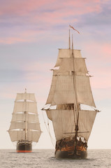 Tall wooden vintage sailing ships