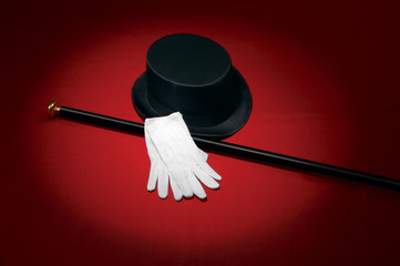 Top hat, white gloves & cane